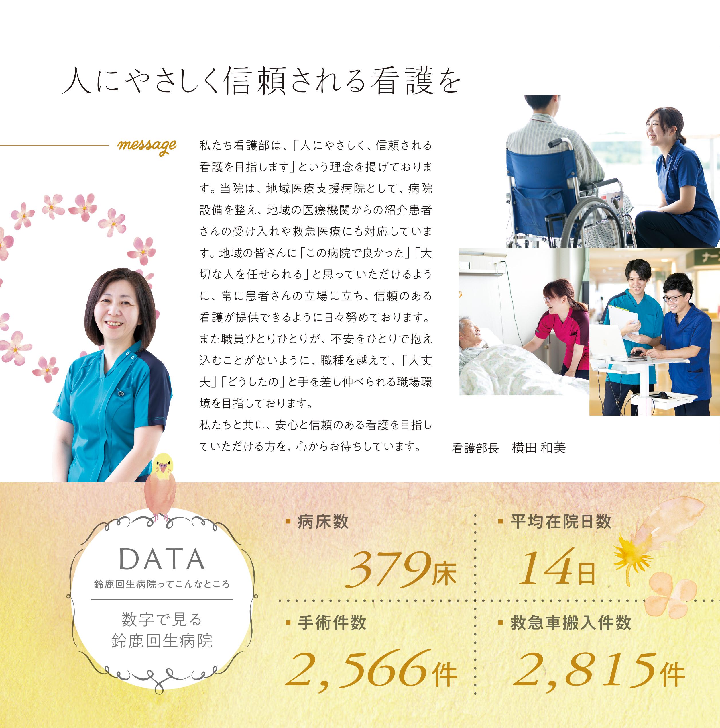 2019年9月作成「鈴鹿回生病院」看護部パンフレット_サブ画像
